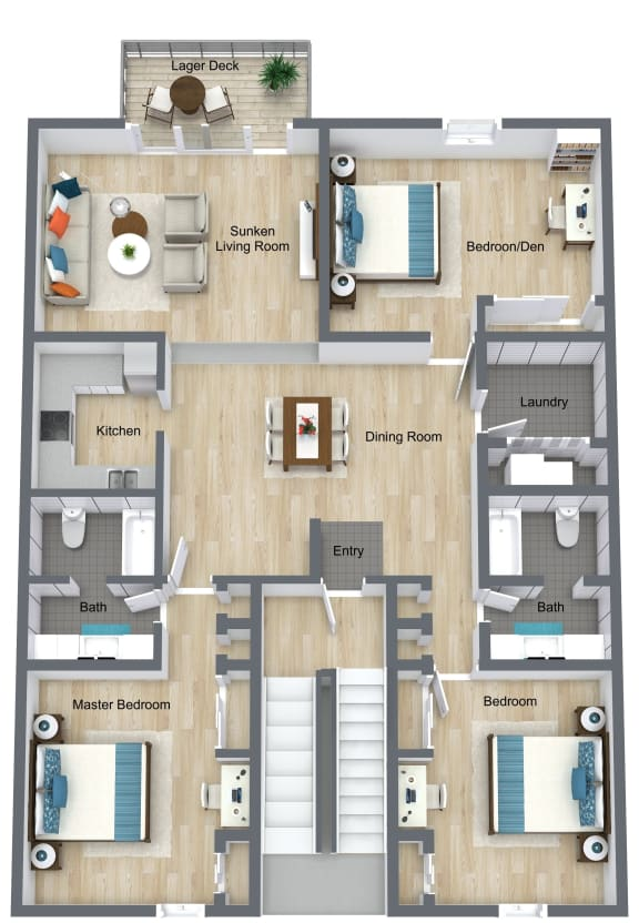 Floor Plan  3 Bedroom  2 Bathroom floor plan at The Life at Legacy Fountains, Kansas City, MO, 64131