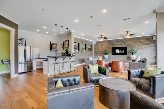 Open Concept Clubhouse Lounge with Kitchen Area