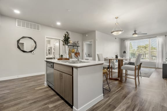 Kitchen and dining area at V on Broadway Apartments in Tempe AZ November 2020