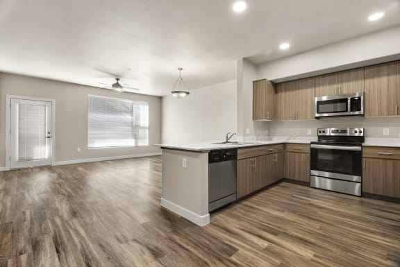 Kitchen and livingroom at V on Broadway Apartments in Tempe AZ November 2020