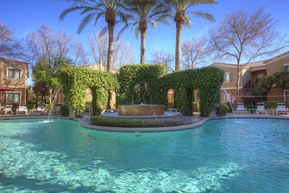 pool and pool fountain at La Borgata Apartments in Surprise AZ
