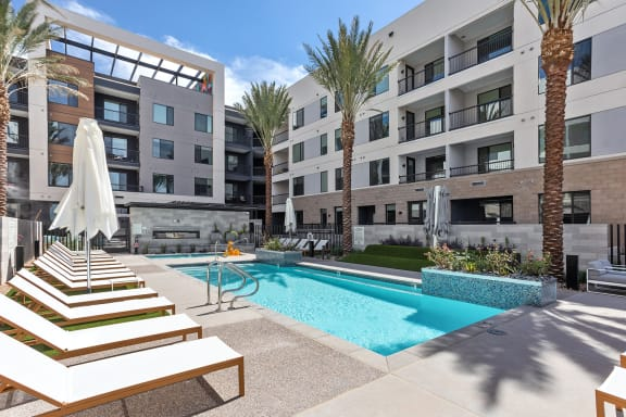 Pool and pool patio at Trovita Rio Apartments in Tempe AZ June 2021