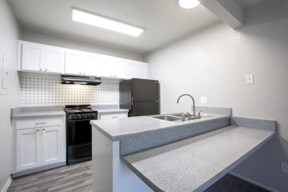 Renovated kitchen at Cinnamon Tree Apartments in Albuquerque NM October 2020