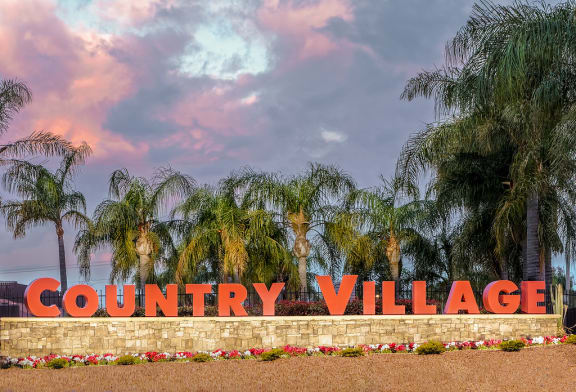 Country Village Property Sign at Country Village Apartments, Jurupa Valley, CA