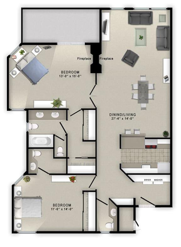 Floor Plan  2 Bedrooms and 2.5 Bathrooms Floor Plans at Augusta Court Apartments, Houston, Texas