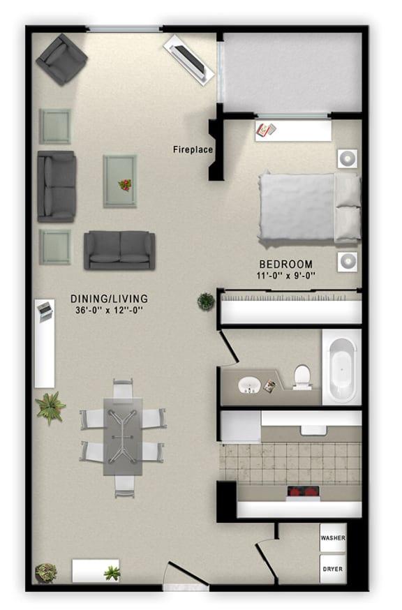 Floor Plan  1 Bedroom A 1 Bath Floor Plan at Augusta Court Apartments, Houston, Texas