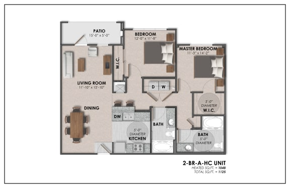 2A floor plan with ADA option