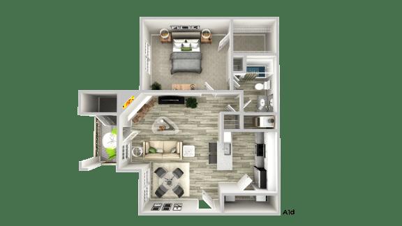 Floor Plan  A1d--1 Bed/ 1 Bath