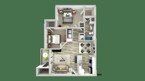 Floor Plan  B1d--2 Bed/ 1 Bath