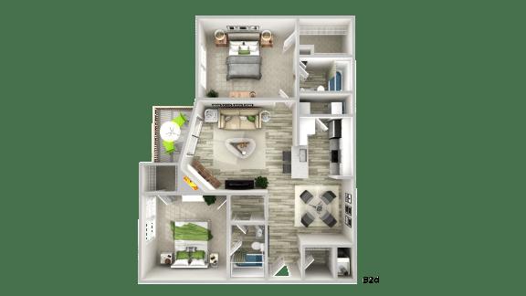 Floor Plan  B3d--2 Bed/ 2 Bath