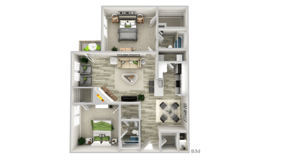 Floor Plan  B2d-- 2 Bed/ 2 Bath