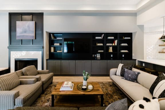 Clubroom With Smart Tv And Fireplace at Deer Run Apartments, Wisconsin, 53223
