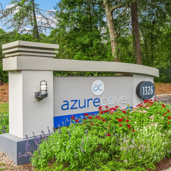 Front entrance sign of Azure Cove in Garden City, GA