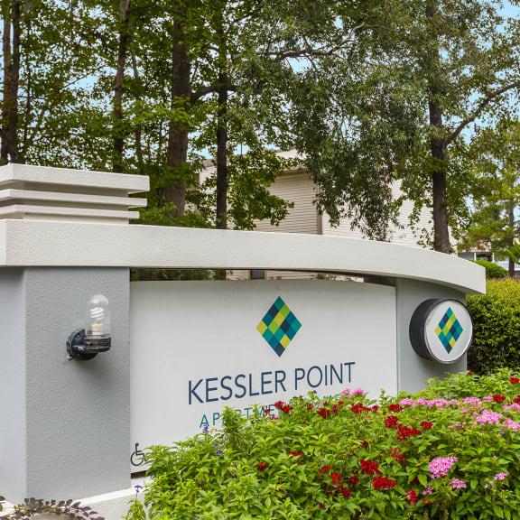 Entrance sign at Kessler Point in Garden City, GA