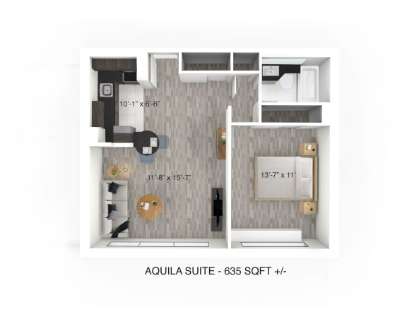 Floor Plan  1 Bedroom 1 Bathroom Floor Plan at 190 Smith Luxury Apartment Suites, Winnipeg, MB, R3C 1J8