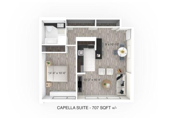 1 Bed 1 Bath Floor Plan at 190 Smith Luxury Apartment Suites, Manitoba, R3C 1J8