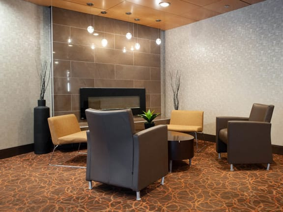 Social Lounge With Fireplace at 190 Smith Luxury Apartment Suites, Manitoba