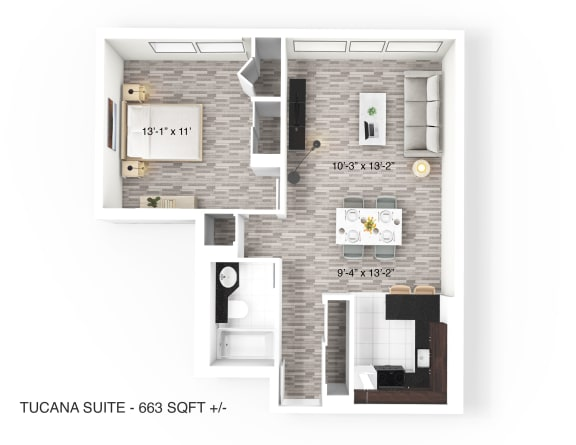 1 Bedroom 1 Bathroom Floor Plan at 190 Smith Luxury Apartment Suites, Winnipeg, R3C 1J8