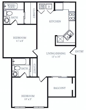 Floor Plan  B1 Classic Floor Plan at The Grove at White Oak Apartments, The Barvin Group, Texas, 77008