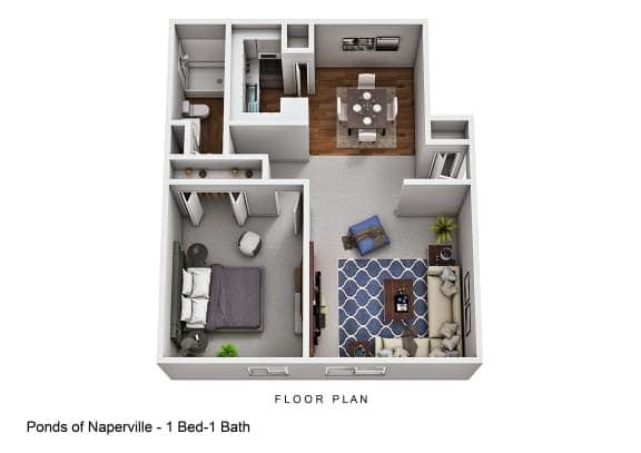 Floor Plan  1 Bed 1 Bath Floor plan at The Ponds of Naperville, Naperville, IL