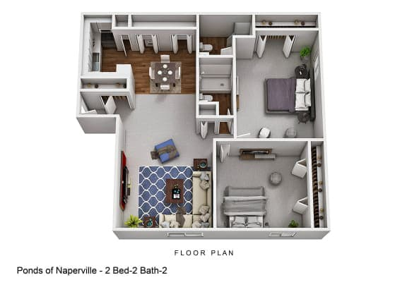 Floor Plan  2 Bed 2 Bath B at The Ponds of Naperville, Naperville, IL