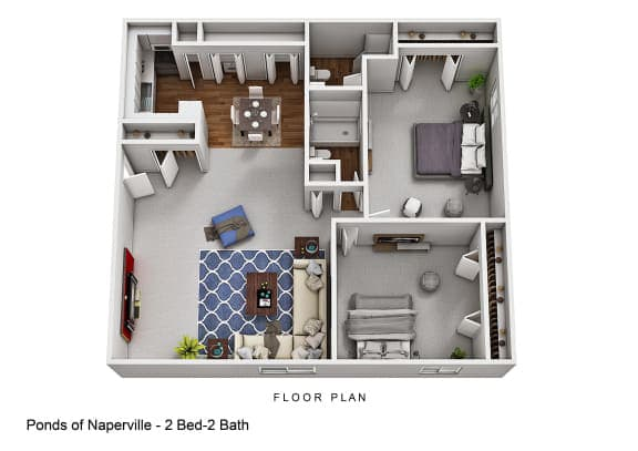 Floor Plan  2 Bed 2 Bath at The Ponds of Naperville, Naperville, IL