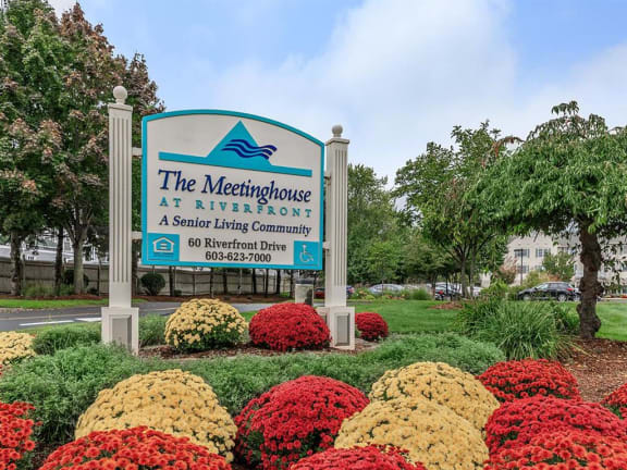 meetinghouse at riverfront senior independent living manchester nh community signage