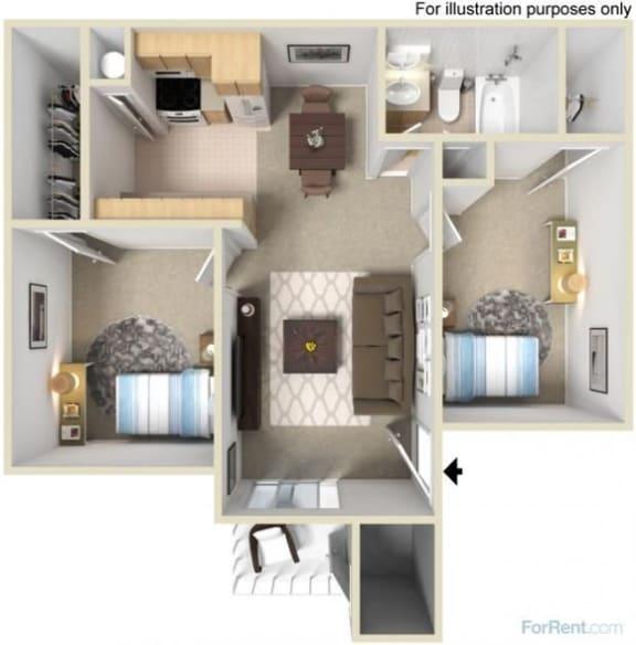Floor Plan  Two Bedroom One Bedroom