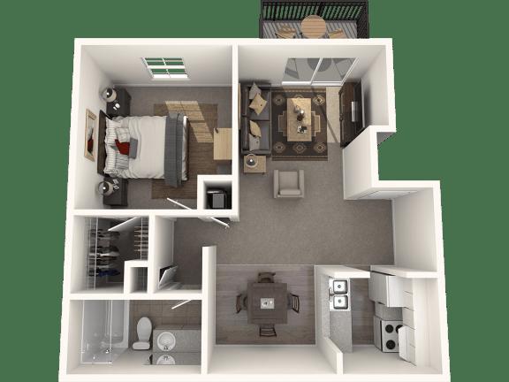 Floor Plan  One Bedroom One Bath Floor Plan |Bay Club