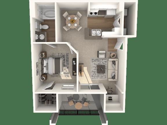 Floor Plan  1X1A Floor Plan | Lodges at Lakeline Village
