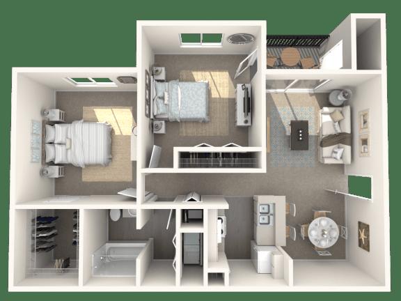 Floor Plan  2 x 1 floor plan | Cypress Shores