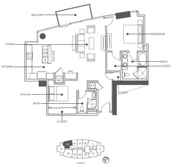 Floor Plan  Suite 3303   Element