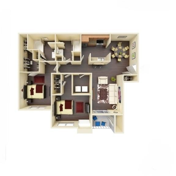 Floor Plan  2B_1082 Floor Plan | River Stone Ranch