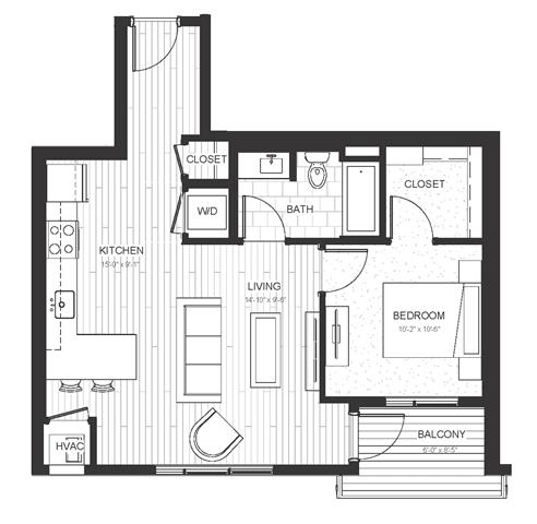 Floor Plan  A2 - One Bedroom & One Bathroom Floor Plan At Boutique 28 Apartments In Minneapolis, MN