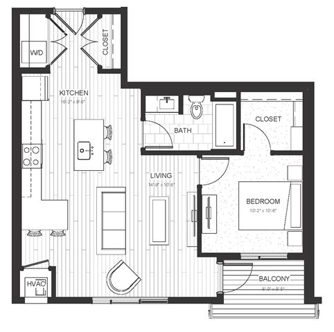 Floor Plan  A3 - One Bedroom & One Bathroom Floor Plan At Boutique 28 Apartments In Minneapolis, MN