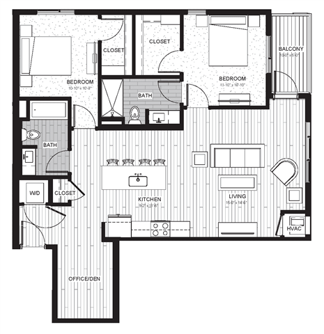 Floor Plan  B1 - Two Bedroom & Two Bathroom Floor Plan At Boutique 28 Apartments In Minneapolis, MN
