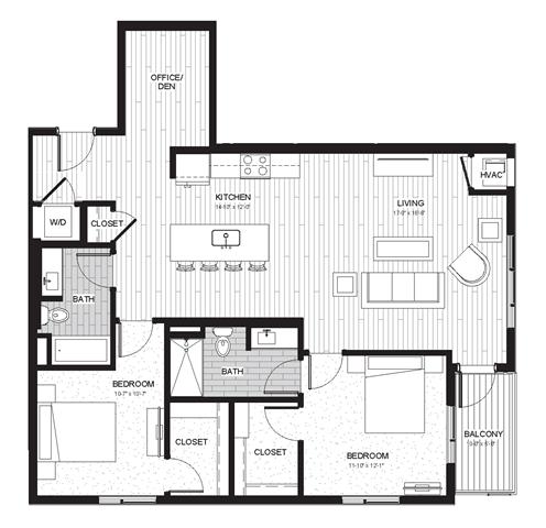 Floor Plan  Two Bedroom & Two Bathroom Floor Plan At Boutique 28 Apartments In Minneapolis, MN