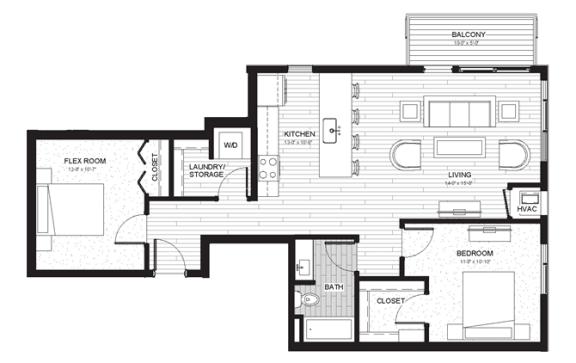 Floor Plan  B4 - Two Bedroom & Two Bathroom Floor Plan At Boutique 28 Apartments In Minneapolis, MN