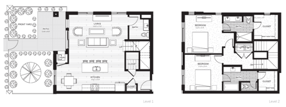 Floor Plan  C1 - Two Bedroom & Two And A Half Bathroom Floor Plan At Boutique 28 Apartments In Minneapolis, MN