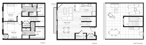 Floor Plan  C6 - Two Bedroom & Two And A Half Bathroom Floor Plan At Boutique 28 Apartments In Minneapolis, MN