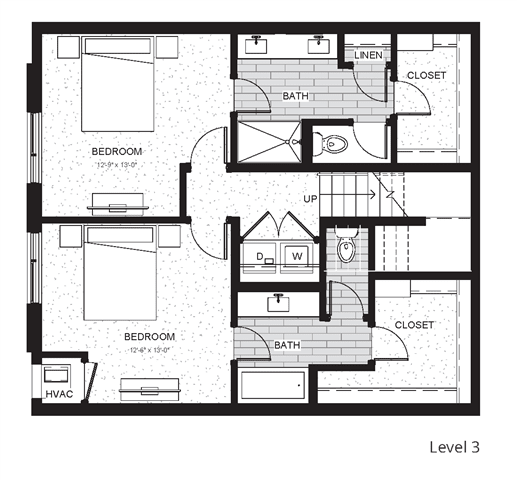 C6 - Two Bedroom & Two And A Half Bathroom Floor Plan At Boutique 28 Apartments In Minneapolis, MN
