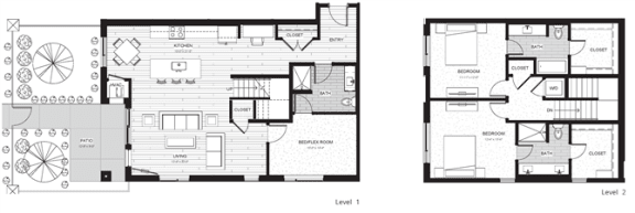 Floor Plan  C3 - Two Bedroom & Two And A Half Bathroom Floor Plan At Boutique 28 Apartments In Minneapolis, MN