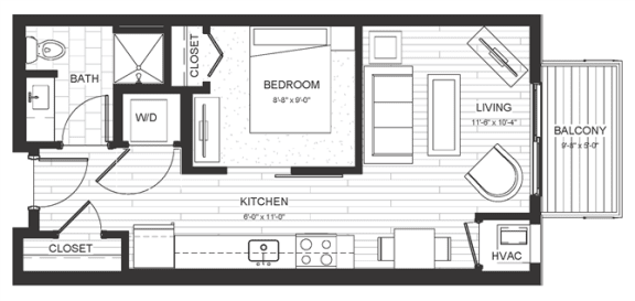 Floor Plan  S1 - Studio & One Bathroom Floor Plan At Boutique 28 Apartments In Minneapolis, MN