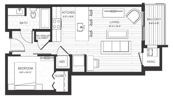 Floor Plan  S2 - Studio & One Bathroom Floor Plan At Boutique 28 Apartments In Minneapolis, MN