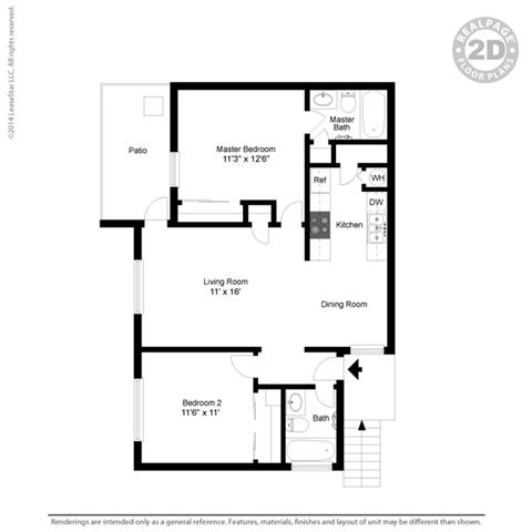 Two Bed Two Bath Floor Plan at Clayton Creek Apartments, California