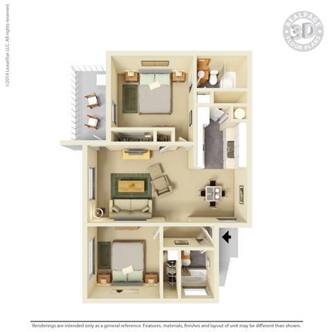 2 bedroom 2 bath Floor Plan at Clayton Creek Apartments, Concord