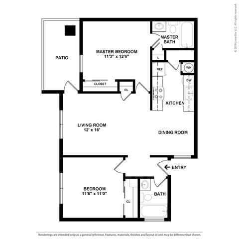 2 Bedroom 2 Bathroom Floor Plan at Clayton Creek Apartments, Concord, California