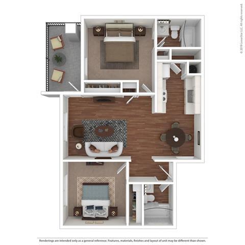 2 Bed 2 Bath Floor Plan at Clayton Creek Apartments, Concord, 94521