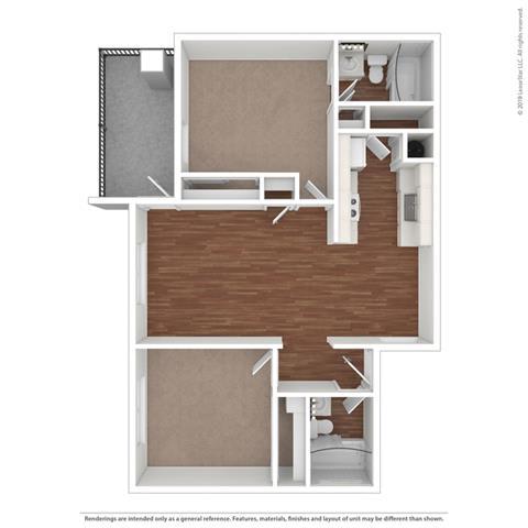 Floor Plan  2 Bedroom Floor Plan at Clayton Creek Apartments, Concord, CA