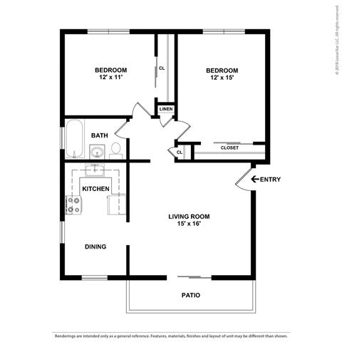 2 bed layout at Parkside Apartments, Davis